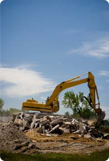 Image of bulldozer at demolition site