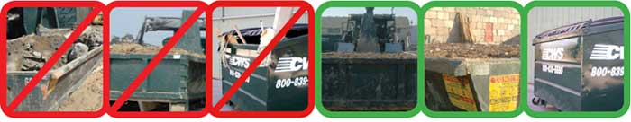 Images of incorrect and correct loading of a CWS dumpster